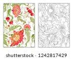 stylized ornamental flowers in... | Shutterstock .eps vector #1242817429