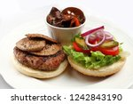 disassembled burger with... | Shutterstock . vector #1242843190