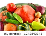 set of vegetables isolated on... | Shutterstock . vector #1242843343