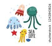 sea life poster. vector set   | Shutterstock .eps vector #1242843826