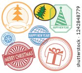 christmas mail letter stamps ... | Shutterstock .eps vector #1242848779