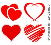 set of red hearts on a white... | Shutterstock .eps vector #124285810