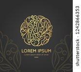 linear golden leaf emblem.... | Shutterstock .eps vector #1242866353