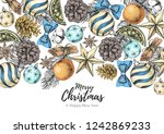 christmas holiday hand drawign... | Shutterstock .eps vector #1242869233