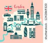 london illustrated map vector.... | Shutterstock .eps vector #1242869320