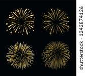 beautiful gold fireworks set....   Shutterstock . vector #1242874126