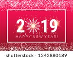 happy new year 2019 greeting... | Shutterstock .eps vector #1242880189