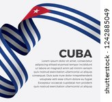 cuba flag  vector illustration... | Shutterstock .eps vector #1242885049