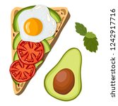 toast with avocado and slices... | Shutterstock .eps vector #1242917716