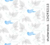 blue bird with floral and leaf... | Shutterstock .eps vector #1242932113