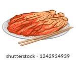 illustration of kimchi on plate ... | Shutterstock .eps vector #1242934939