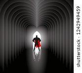 the superhero in the red cloak...   Shutterstock .eps vector #1242949459