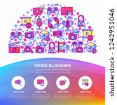 video blogging concept in half... | Shutterstock .eps vector #1242951046