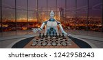 white humanoid robot with a... | Shutterstock . vector #1242958243