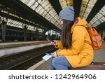 young pretty woman waiting for...   Shutterstock . vector #1242964906