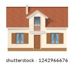 residential house facade with a ... | Shutterstock .eps vector #1242966676