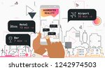 augmented reality city tourism... | Shutterstock .eps vector #1242974503