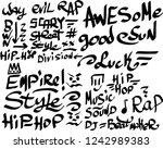 many graffiti tags on a white... | Shutterstock .eps vector #1242989383