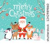 cute characters hugging   santa ...   Shutterstock .eps vector #1242989860