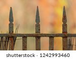 an old rusty  metal fence in an ... | Shutterstock . vector #1242993460
