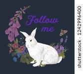 white rabbit. flower wreath.... | Shutterstock .eps vector #1242996400