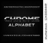 chrome alphabet font. metallic... | Shutterstock .eps vector #1243004449