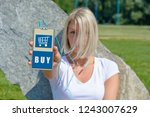 hand holing smart phone with...   Shutterstock . vector #1243007629