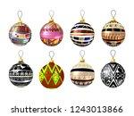 set of unusual christmas balls... | Shutterstock .eps vector #1243013866