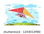 cartoon man flying on hang... | Shutterstock .eps vector #1243013980