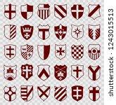set of red heraldic shields...   Shutterstock .eps vector #1243015513