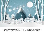 santa claus driving in a sledge ... | Shutterstock .eps vector #1243020406