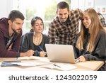happy young university students ... | Shutterstock . vector #1243022059