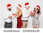 group of happy friends dressed... | Shutterstock . vector #1243026130