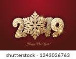 "vector new year card   ""happy... | Shutterstock .eps vector #1243026763"