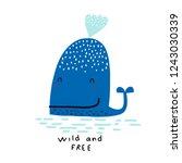 super cute whale. for children... | Shutterstock .eps vector #1243030339