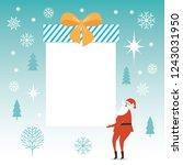 santa claus carry big christmas ... | Shutterstock .eps vector #1243031950