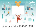 santa claus carry big christmas ... | Shutterstock .eps vector #1243031959