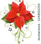 red poinsettia with leaves ... | Shutterstock .eps vector #1243032253