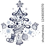 cute christmas tree with gifts  ... | Shutterstock .eps vector #1243035070