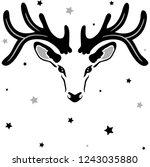 reindeer silhouette with big... | Shutterstock .eps vector #1243035880