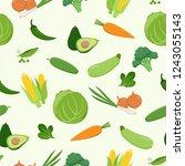 fresh green various vegetables... | Shutterstock .eps vector #1243055143