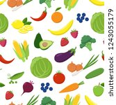 various fruits and vegetables...   Shutterstock .eps vector #1243055179