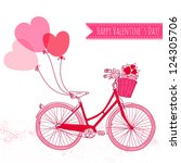 bicycle with balloons and a... | Shutterstock .eps vector #124305706