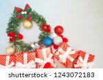 christmas background on gray... | Shutterstock . vector #1243072183