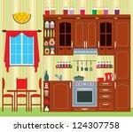 kitchen furniture. interior.... | Shutterstock .eps vector #124307758