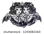 gothic victortian twin witch... | Shutterstock .eps vector #1243082260