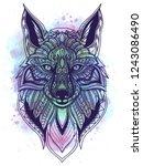 watercolor and line art fox... | Shutterstock .eps vector #1243086490