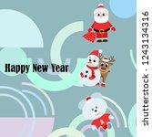 christmas card  santa snowman... | Shutterstock .eps vector #1243134316