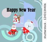 christmas card  santa snowman... | Shutterstock .eps vector #1243134406