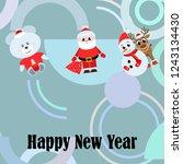 christmas card  santa snowman... | Shutterstock .eps vector #1243134430